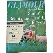 Vintage July 1957 Glamour fashion & beauty magazine makeup clothing hair retro