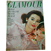 Vintage March 1957 Glamour fashion & beauty magazine makeup clothing hair retro