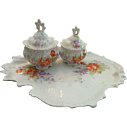 Three piece Victorian porcelain dresser set tray and trinket dishes violets pansies