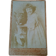 Cabinet card photograph of child actress Florence W Ashburn & large dog