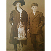 RPPC Photograph circa 1910 young girl & boy with Jack Russell terrier dog wonderfully posed