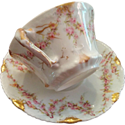 Theodore Haviland Limoges fine porcelain antique cup & saucer pink rose garlands