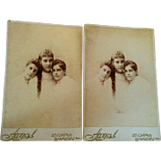 1891 Los Angeles cabinet card photographs George Steckel trio of beautiful sisters