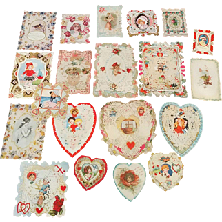Wonderful lot of 20 late Victorian to early 1900's Valentine's day cards paper lace Deco children flowers birds