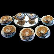 Deco era Japan Cherry blossom blue and peach luster porcelain tea set 5 trios