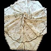 Vintage linen Deco era fruit & grapevine cutwork embroidery tablecloth light ecru elegant