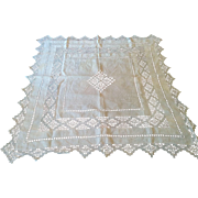 "Early 1900's square pulled thread lace embroidery linen table topper tea cloth 37"" by 37"""