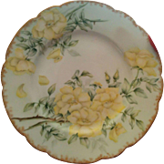 Late 1800's Hand painted yellow country roses brushed gold trim Haviland Limoges porcelain plate
