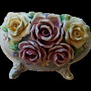 Vintage earlier 1900's Germany porcelain blue egg with roses & flowers vase