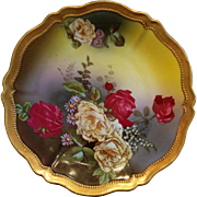 Vintage O & E.G. Oscar & Edgar Gutherz Austria porcelain red & yellow roses plate beautifully colored