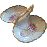 Victorian era porcelain handled double bowl serving dish Violets & Lilly of the Valley