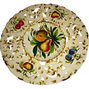 Vintage Antonio Borsato Italy reticulated edge plate art pottery plate hand painted fruits