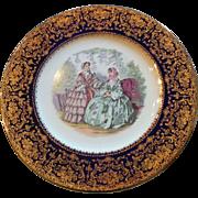 Vintage Imperial Salem China Godey print plate heavy gold & cobalt edge trimmed