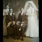 Circa 1900 wedding group beautiful bride handsome groom from St. Louis Missouri