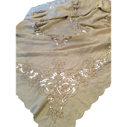 Beautiful vintage linen tablecloth Cutwork flowers hand-embroidery circa 1940's