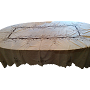 Vintage hand stitched embroidery & needle lace table cloth ornate flower pattern linen