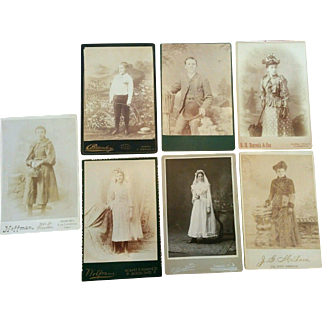 Seven later 1800's cabinet card photographs two pretty communion girls nice mix