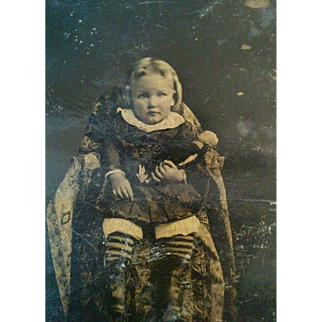 1880's Tintype young girl holding porcelain Bisque doll possible hidden mother