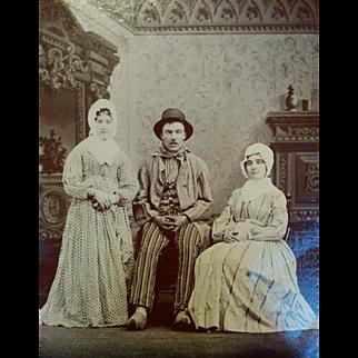 Unusual Victorian fashion examples tintype man & woman in strange costumes circa 1870s