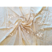 """Vintage circa 1930's hand embroidery cut-work lace floral tablecloth linen 100"""" by 70"""""""