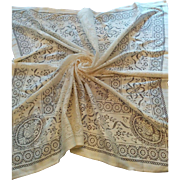 """Ornate vintage Cotton lace tablecloth machine made floral garlands 50"""" square"""