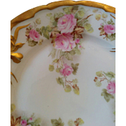 Earlier 1900's Iris mold fine Germany porcelain plate beautiful pink cabbage roses & brushed gold