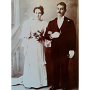 Early 1900's bridal cabinet card photograph beautiful young couple