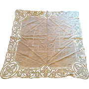 Smaller sized Battenburg lace edge tablecloth vintage pink and white embroidery & lace