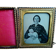 Union cased ambrotype portrait beautiful young mother with sleeping infant baby