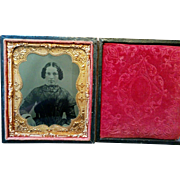 Union cased mid 1800s tintype beautiful young woman wearing moon & stars pattern bow