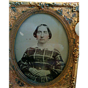 Victorian Framed ambrotype older woman tartan plaid dress simple hairstyle hoop earrings