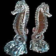 Paden City Circa 1930 art glass Deco style seahorse bookends