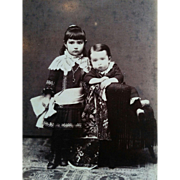 Cabinet card of two young children brother & sister circa 1880's embroidery gown Darrow New York