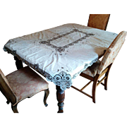 """Vintage table cloth hand embroidery & heavy Bobbin lace trim 66"""" by 50"""""""