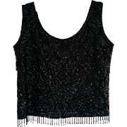 Vintage 1960's sleeveless black wool beaded sequins sweater from Hong Kong