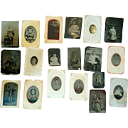 Lot of 19 Post Civil War era tintype portrait photographs men women infants children