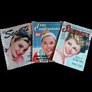 Three vintage Magazines 1940s 50s Secrets & True Confessions wonderful cover art