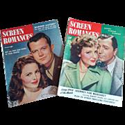 Two Screen Romances magazines WWII era Dec 1944 & Jan 1943