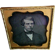 Daguerreotype Photograph circa 1850s handsome young man with original seals and frame nice