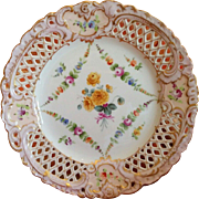 Hand painted Carl Thieme Dresden flowers reticulated lace edge porcelain compote