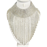 Clear Cascading Rhinestone Bib Collar Necklace