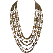 Hobé Five Strand Imitation Baroque Pearl and Chain Necklace