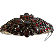 Bohemian Antique Garnet Hinged Bangle Bracelet
