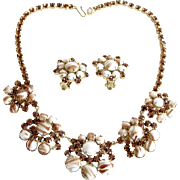 Juliana by DeLizza & Elster Chalk White Gold Fluss Necklace and Earring Set. c. 1960