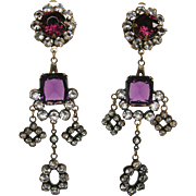 Joseff of Hollywood Vintage Purple Glass Georgian Style Chandelier Earrings