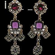 Joseff of Hollywood Vintage Purple Glass Georgian Style Chandelier Earrings
