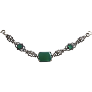 Art Deco Sterling Chrysoprase Bracelet with Marcasites