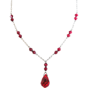 Czech Faceted Red Glass Drop  Vintage Necklace