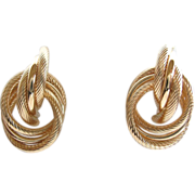 14K Gold Knot Circular Earrings, Vintage