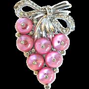 Crown Trifari Pink Shoe-button Clip, 1938